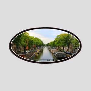 Canal, bridges, bikes, boats, Amsterdam, Hol Patch