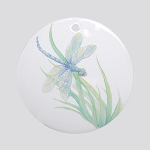 Watercolor Dragonfly painting in so Round Ornament