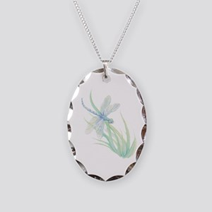 Watercolor Dragonfly painting Necklace Oval Charm