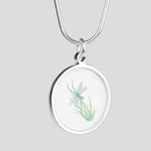 Watercolor Dragonfly painting in soft Bl Necklaces