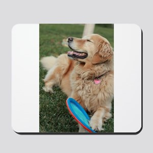 Nala the golden retriever playing on law Mousepad