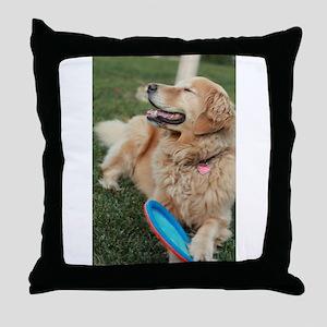 Nala the golden retriever playing on Throw Pillow