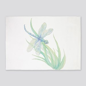 Watercolor Dragonfly Painting in Blue Green 5'x7'A