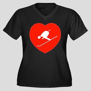 Love Skiing Heart Women's Plus Size V-Neck Dark T-