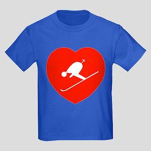 Love Skiing Heart Kids Dark T-Shirt