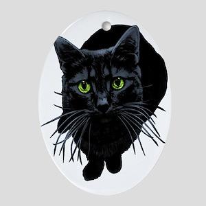 Black Cat Oval Ornament