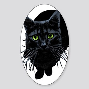 Black Cat Oval Sticker