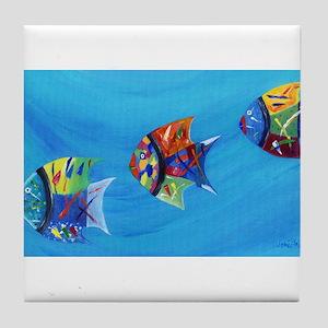 Three Little Fishy's Tile Coaster