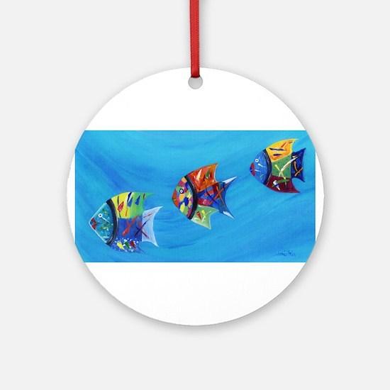 Three Little Fishy's Round Ornament