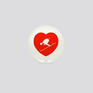 Love Skiing Heart Mini Button