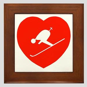 Love Skiing Heart Framed Tile