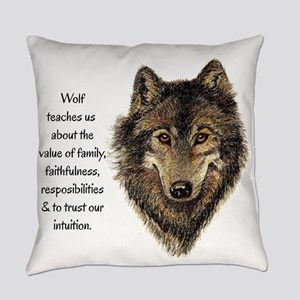 Wolf Totem Animal Guide Watercolor Everyday Pillow
