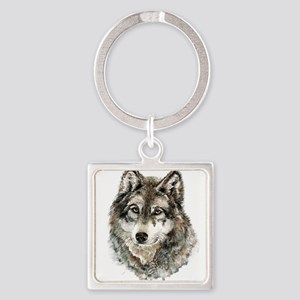 Watercolor Grey Gray Wolf Animal Nature Keychains