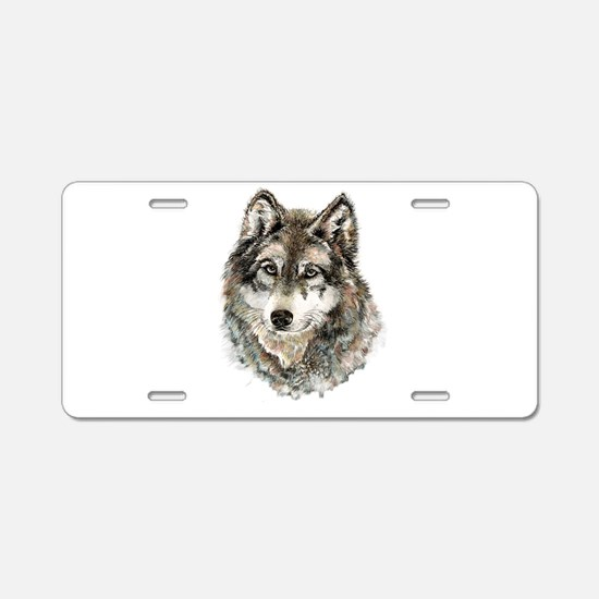 Watercolor Grey Gray Wolf A Aluminum License Plate