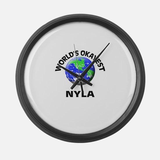 World's Okayest Nyla Large Wall Clock