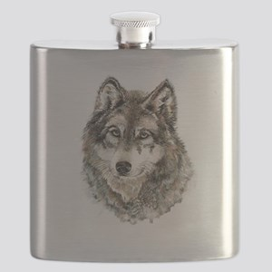 Watercolor Grey Gray Wolf Animal Nature Art Flask