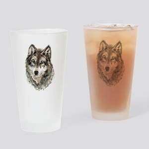 Watercolor Grey Gray Wolf Animal Na Drinking Glass