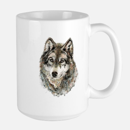 Watercolor Grey Gray Wolf Animal Nature Art Mugs