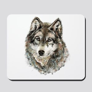 Watercolor Grey Gray Wolf Animal Nature Mousepad