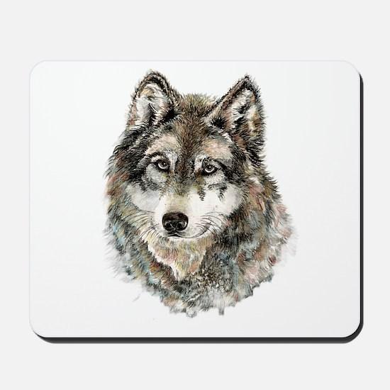 Watercolor Grey Gray Wolf Animal Nature Mousepad
