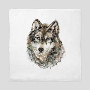 Watercolor Grey Gray Wolf Animal Natur Queen Duvet