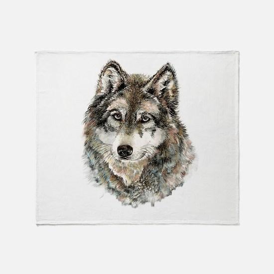 Watercolor Grey Gray Wolf Animal Nat Throw Blanket