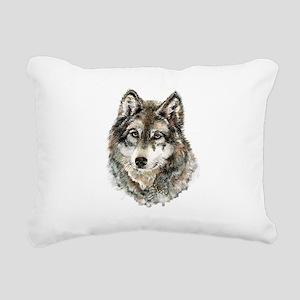 Watercolor Grey Gray Wol Rectangular Canvas Pillow