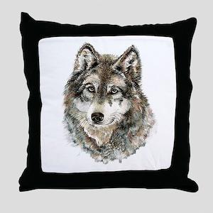 Watercolor Grey Gray Wolf Animal Natu Throw Pillow