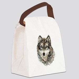 Watercolor Grey Gray Wolf Animal Canvas Lunch Bag