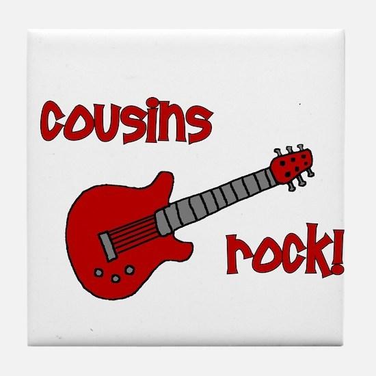 Cousins Rock! red guitar Tile Coaster