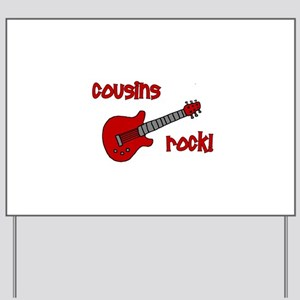 Cousins Rock! red guitar Yard Sign
