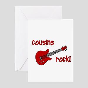 Cousins Rock! red guitar Greeting Card