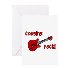 Cousins Rock! red guitar Greeting Card