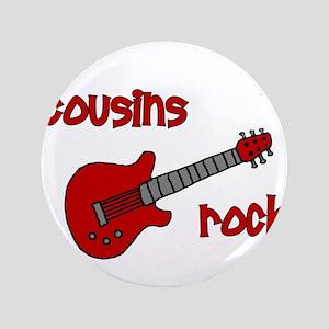 """Cousins Rock! red guitar 3.5"""" Button"""