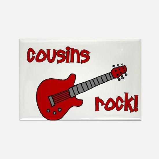 Cousins Rock! red guitar Rectangle Magnet