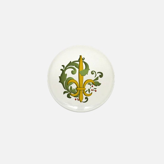 Christmas Fleur de lis Mini Button