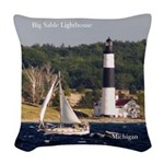 Big Sable Lighthouse And Boat Woven Throw Pillow