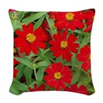 Red Flowers Yellow Centers Woven Throw Pillow