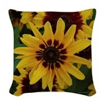 Yellow Brown Flower 2 Woven Throw Pillow