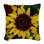 Yellow Brown Flower Woven Throw Pillow