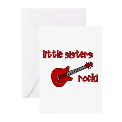 Little Sisters Rock! red guit Greeting Cards (Pk o