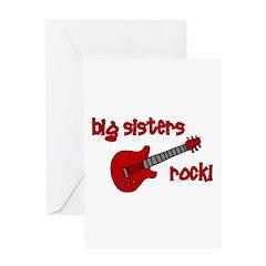 Big Sisters Rock! red guitar Greeting Card