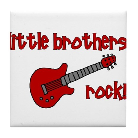 Little Brothers Rock! red gui Tile Coaster