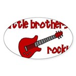 Little Brothers Rock! red gui Oval Sticker