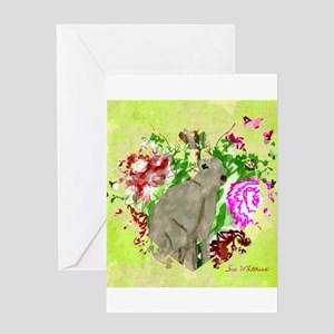 Rabbit in the Garden of Love Greeting Cards