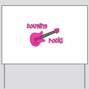 Cousins Rock! pink guitar Yard Sign