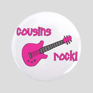 """Cousins Rock! pink guitar 3.5"""" Button"""