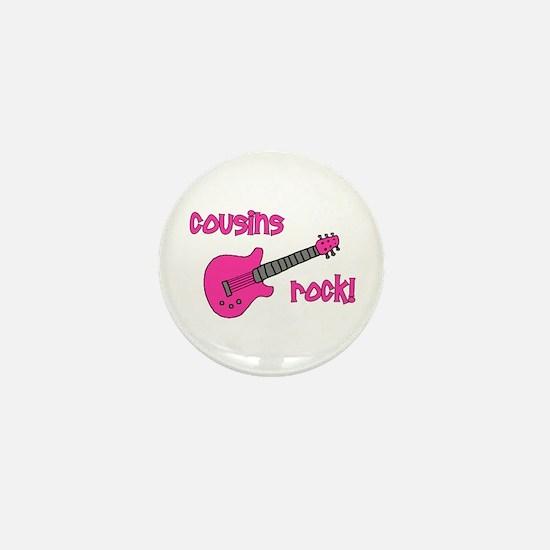 Cousins Rock! pink guitar Mini Button