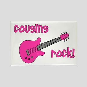 Cousins Rock! pink guitar Rectangle Magnet