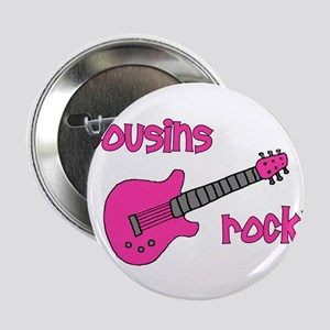 "Cousins Rock! pink guitar 2.25"" Button"